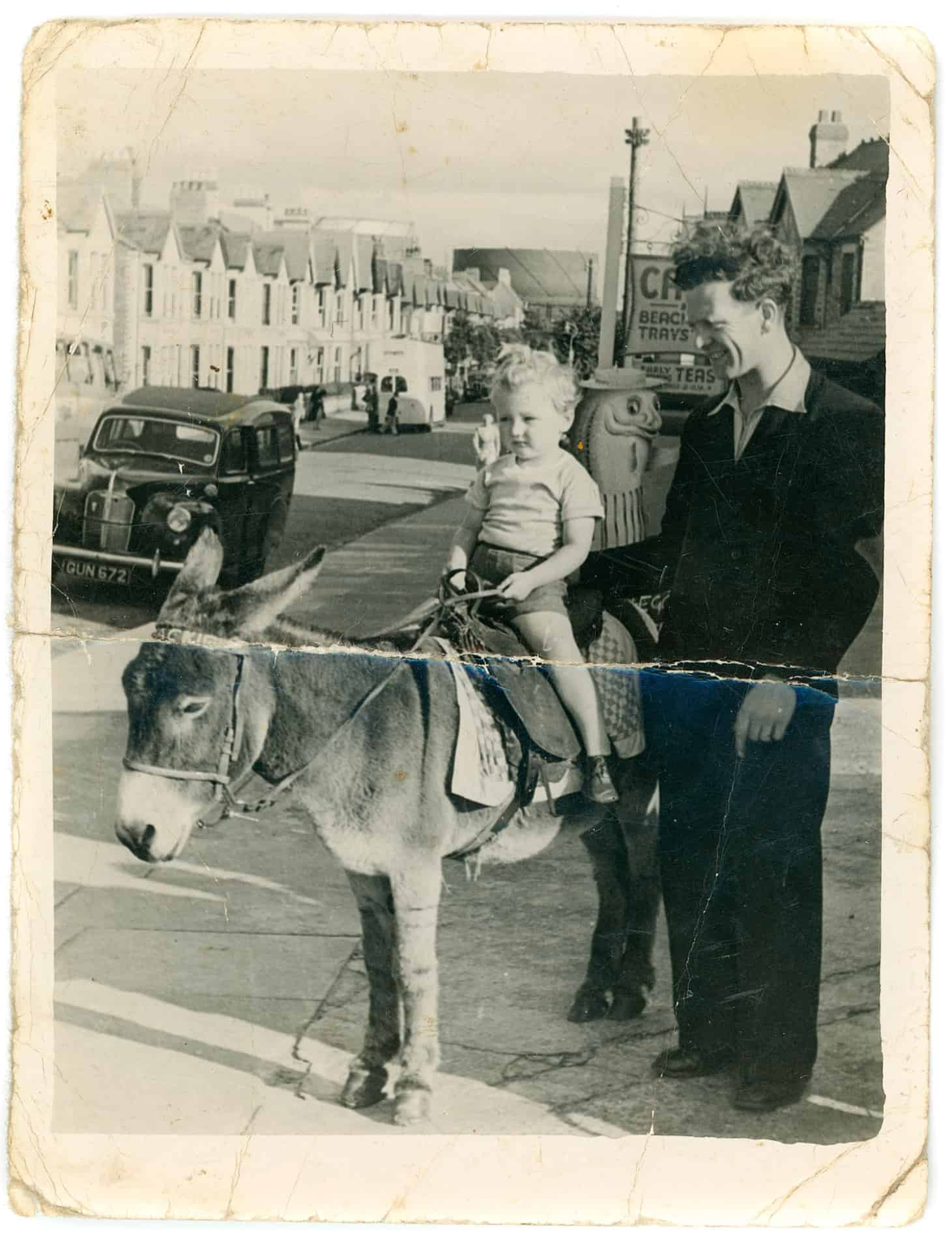 Dad with me on a donkey. Rhyl early 1950s