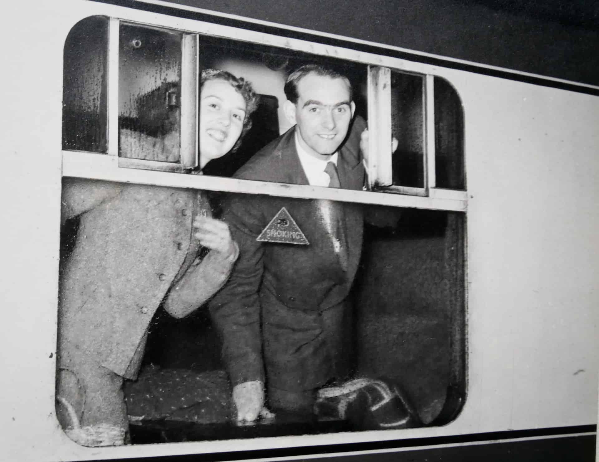 Marion and George leave for their honeymoon in 1955