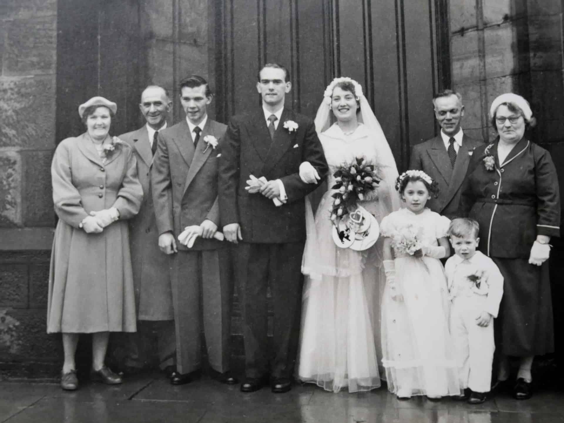 Getting maried at Christ Church in Coseley in 1955