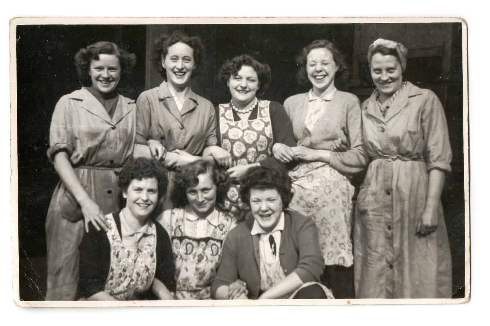 Aunt Gladys's sister Lavinia (Vinnie) far right top row and sister in law Phyllis Willetts (my mom) centre front row with work friends I think at the Revo factory in Tipton late 1950s