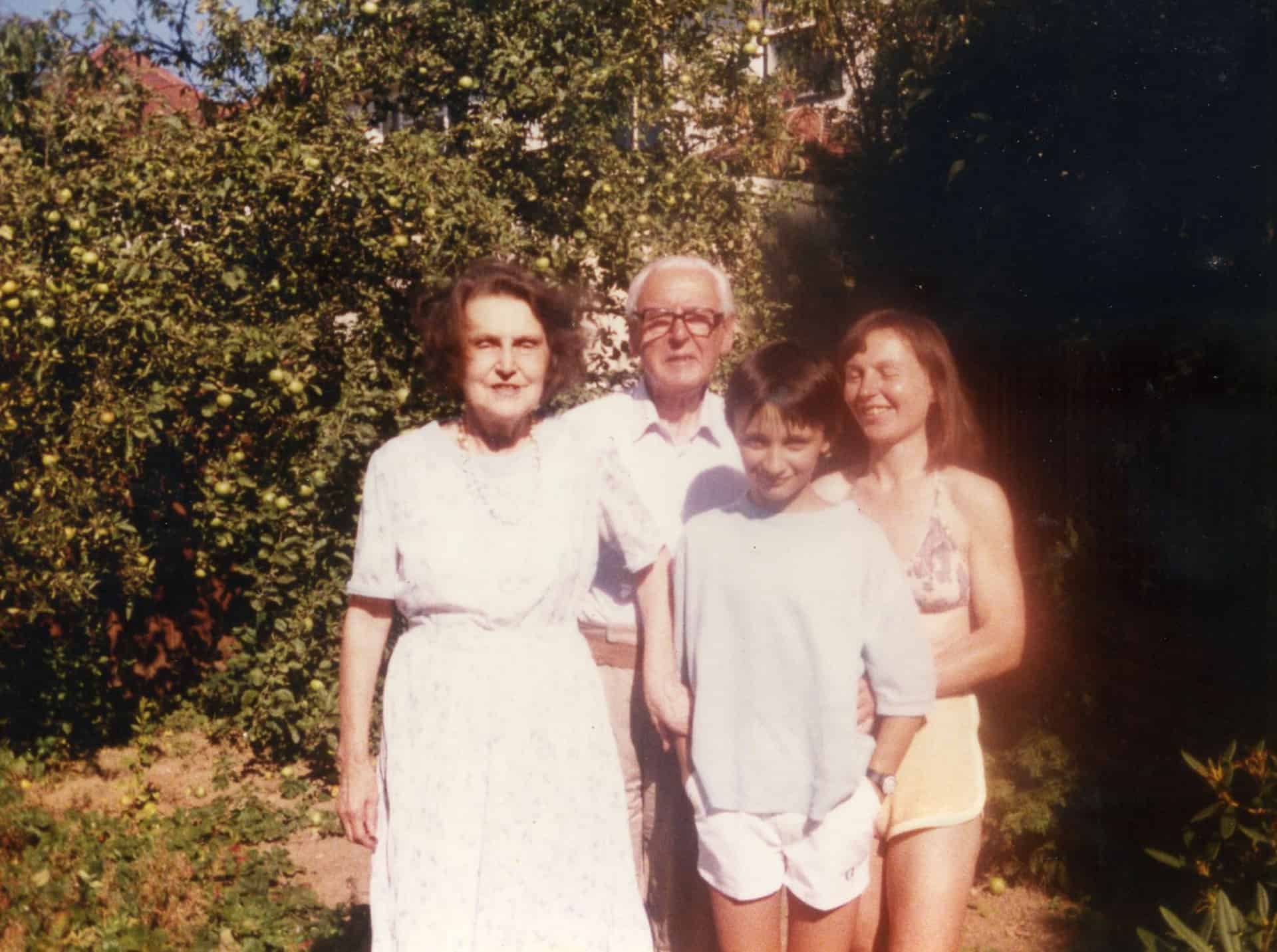 Left to right: Marjorie, Charles Edward, Joseph and Jenny Potts, Carters Lane, Halesowen, 1984