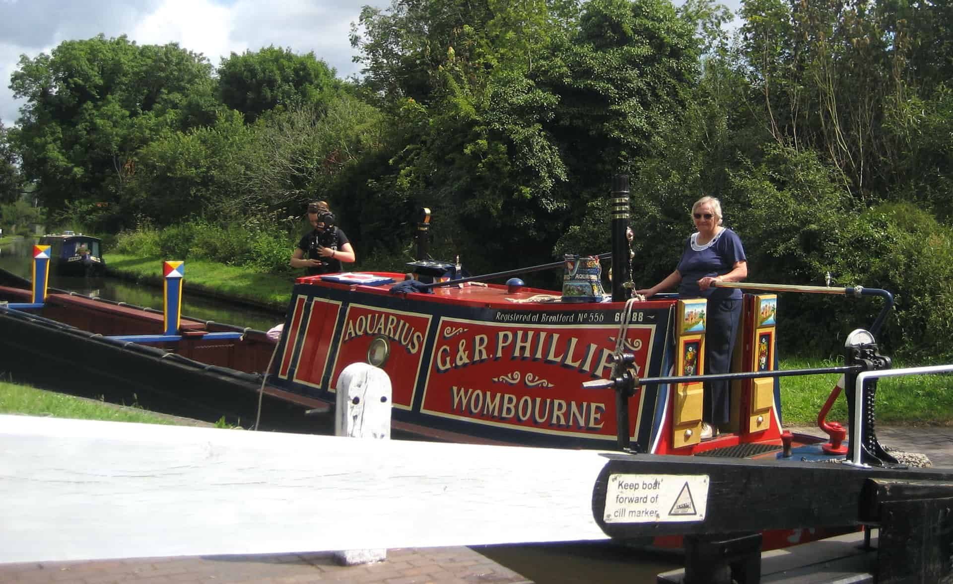 Filmmaker Lauren with Ruth on the narrowboat.