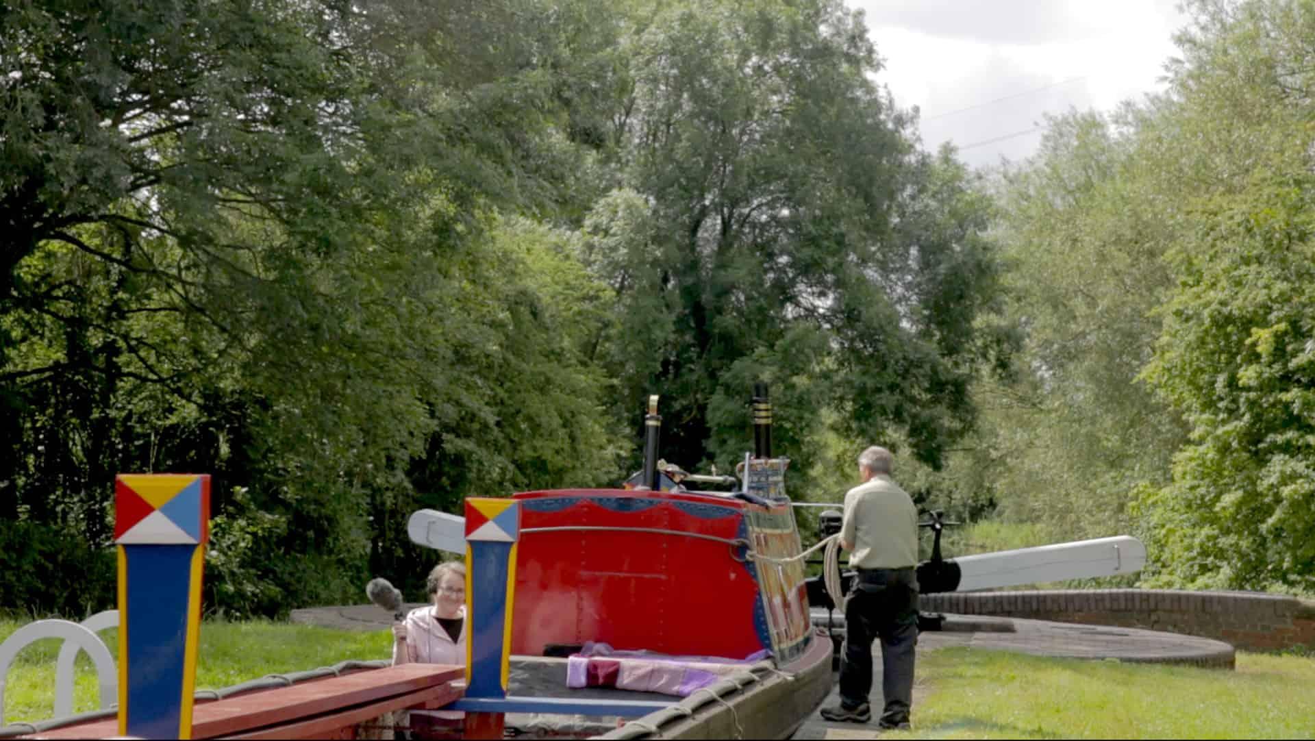 Olivia James on the narrowboat