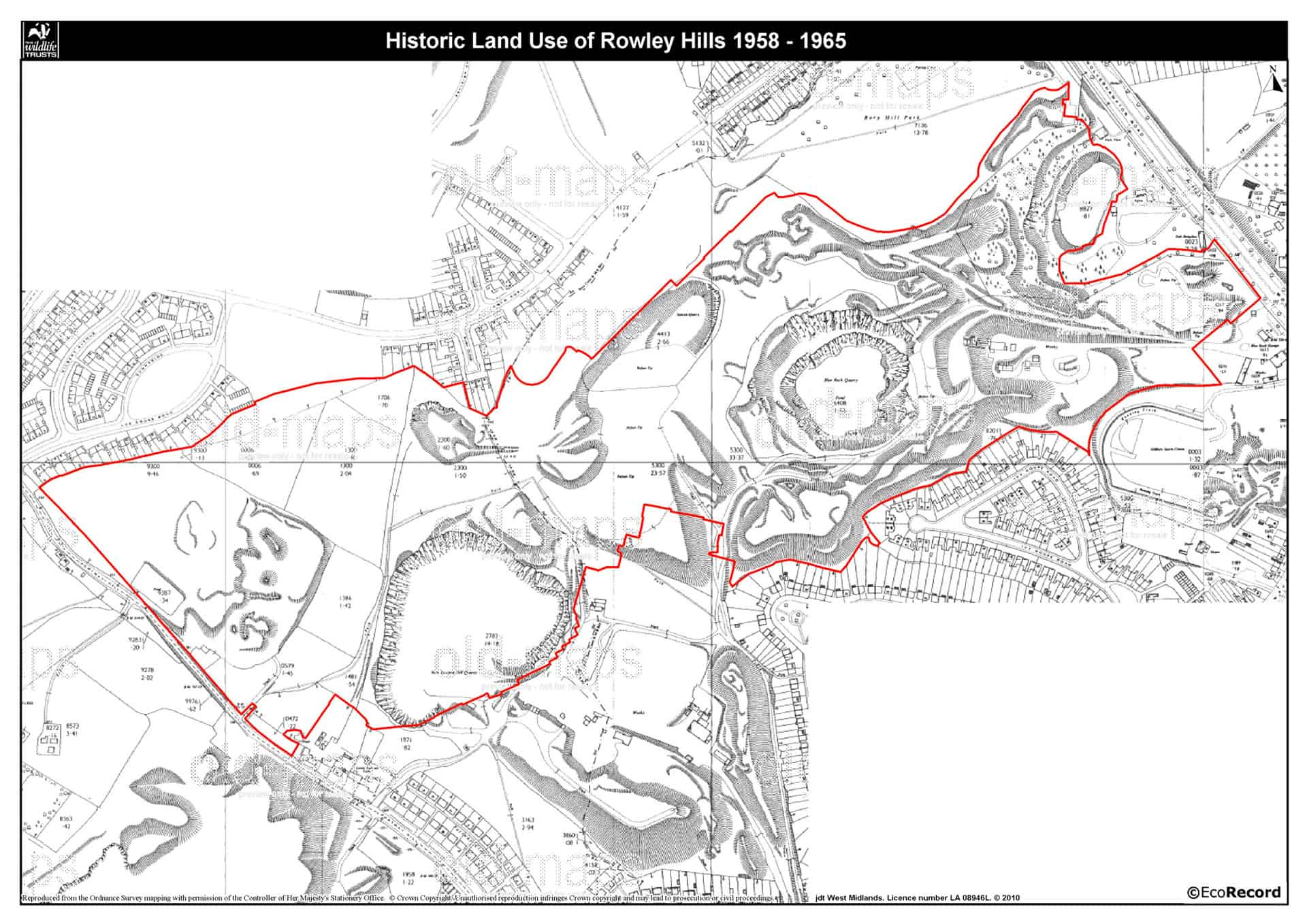 1958-1965 Map of Rowley hills