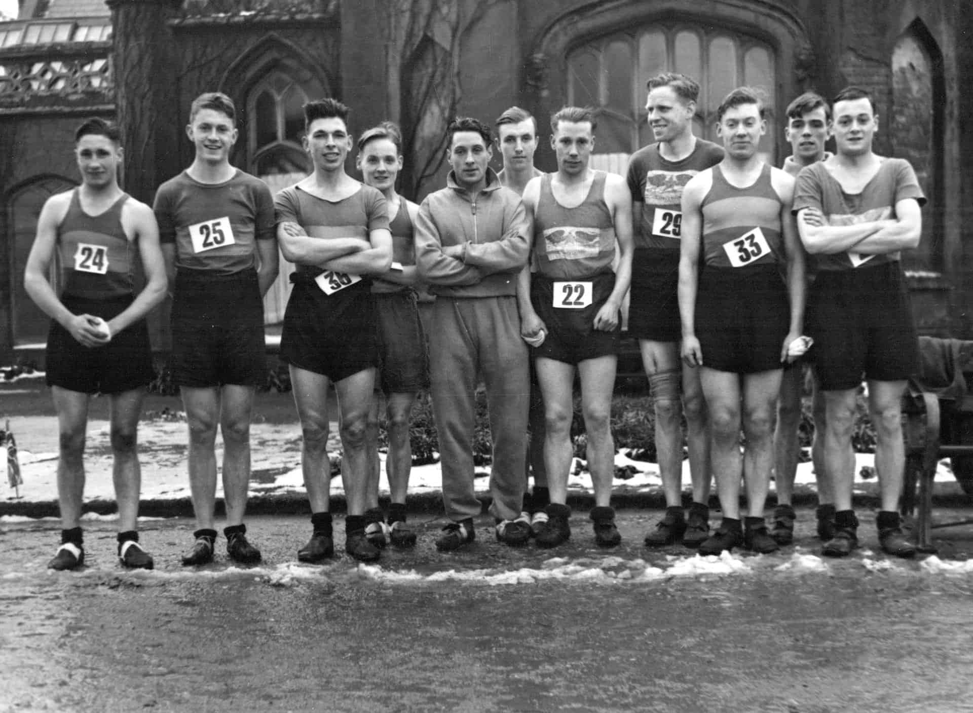 The Smethwick Harriers team, for the Staffordshire County Championship 1939. Shows left to right; W H Perry (24), C Pickering (25), J Oliver, R W G Lowe, J J Bushby, E H Edwards, Frank Cull, (22) Fred Cull, A New, (33) G Ed Photograph used with kind permission from Sandwell Community History and Archive Service