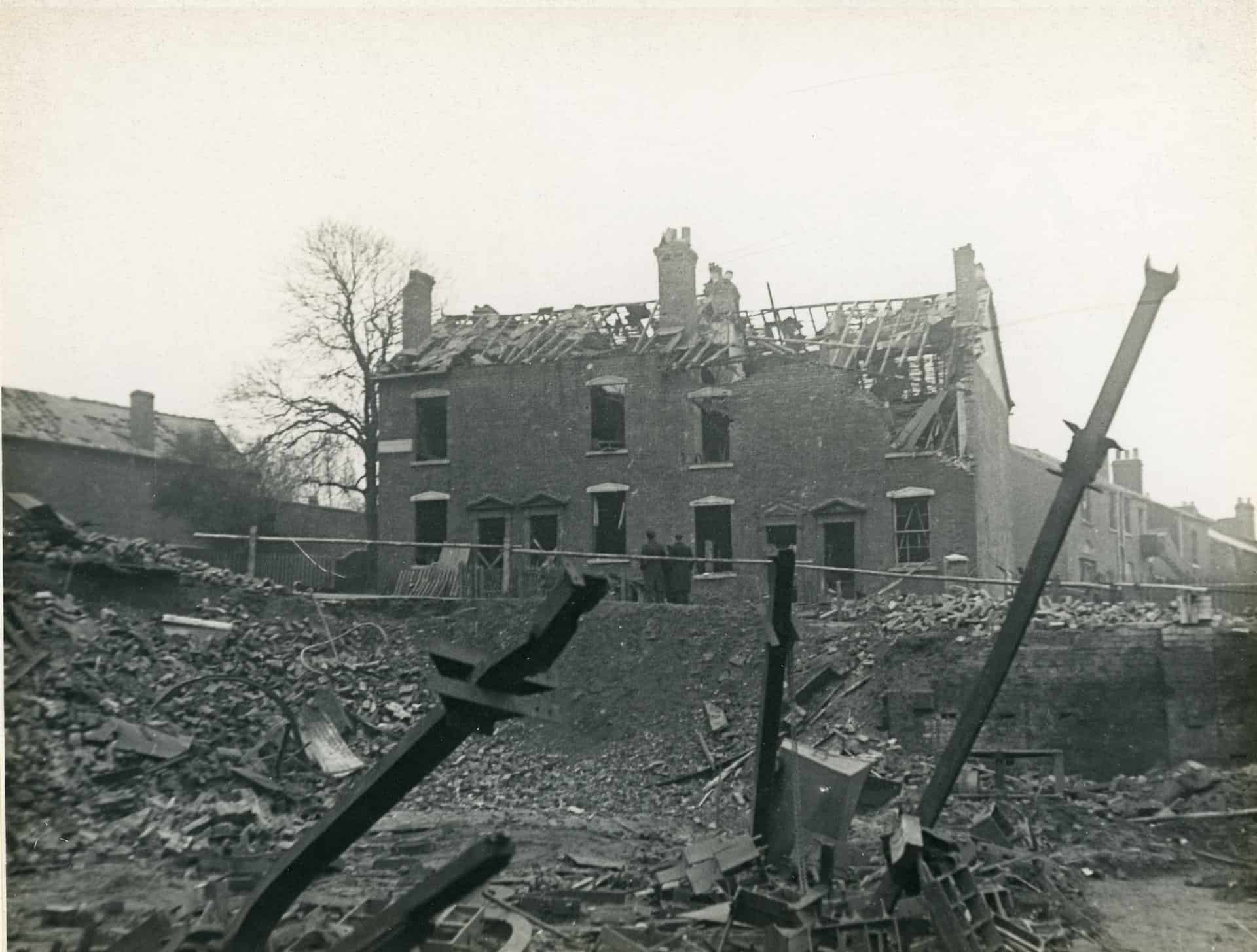 Bomb damaged houses, Smethwick. Photographer: J.W.Mortimer  Photograph used with kind permission from Sandwell Community History and Archive Service