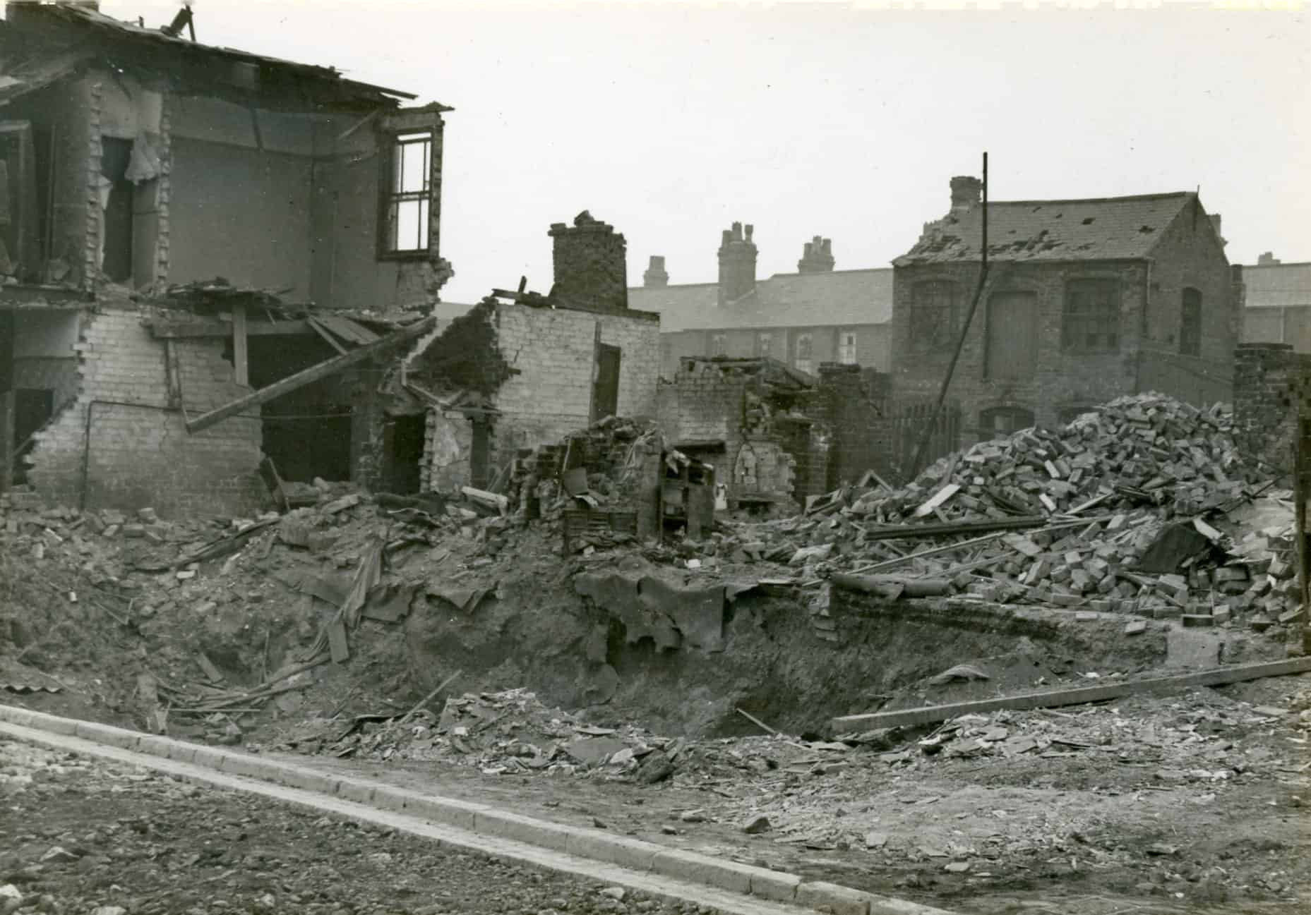 Bomb damaged houses, Smethwick. C. 1940  Photograph used with kind permission from Sandwell Community History and Archive Service