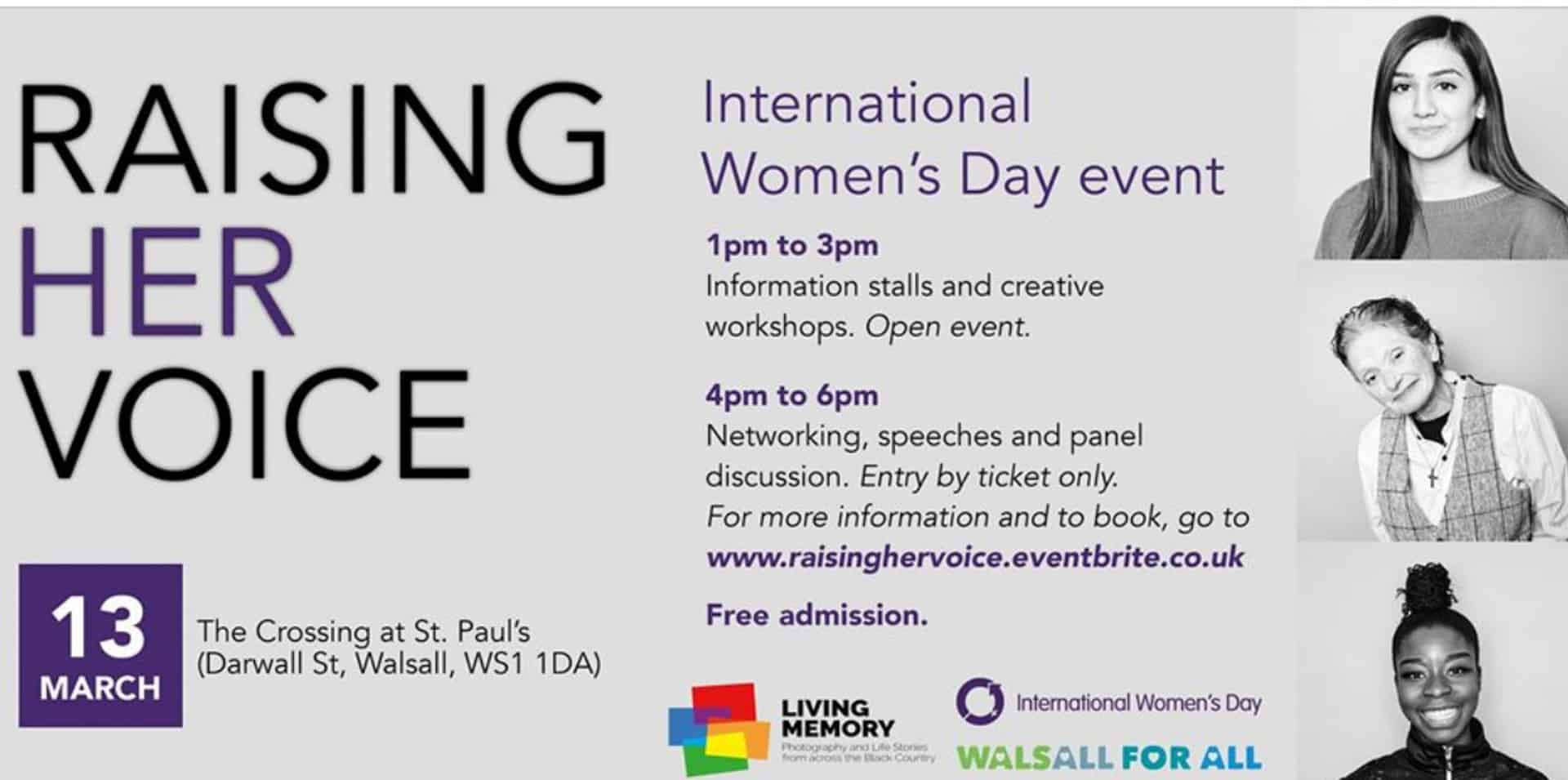 The invite for the event Raising Her Voice to mark International Women's Day at The Crossing St Paul's, Walsall, 13th March 2020