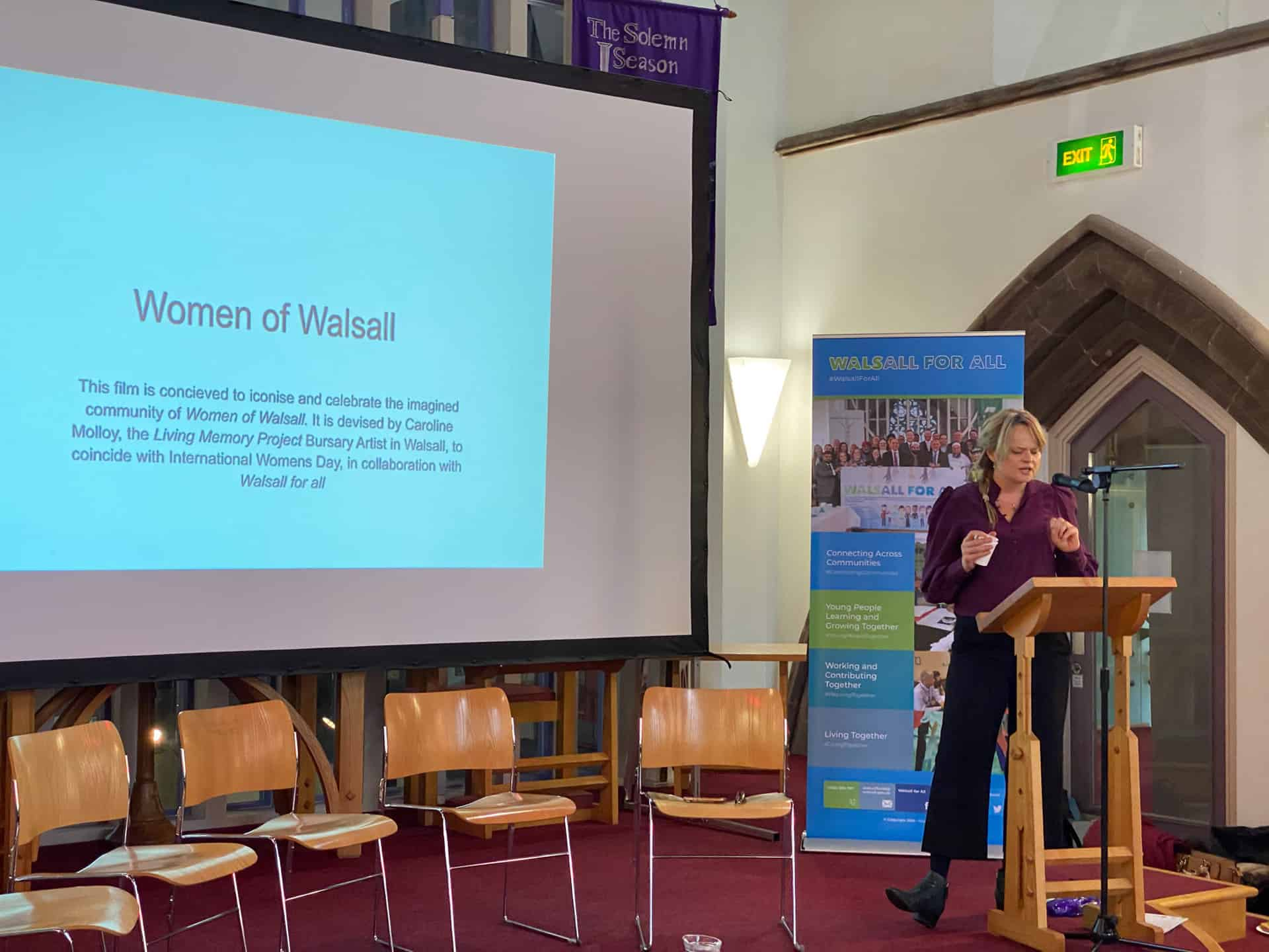 Caroline presenting her project and the film Women of Walsall at the International Women's Day event at the Crossing, Walsall, 13th March 2020