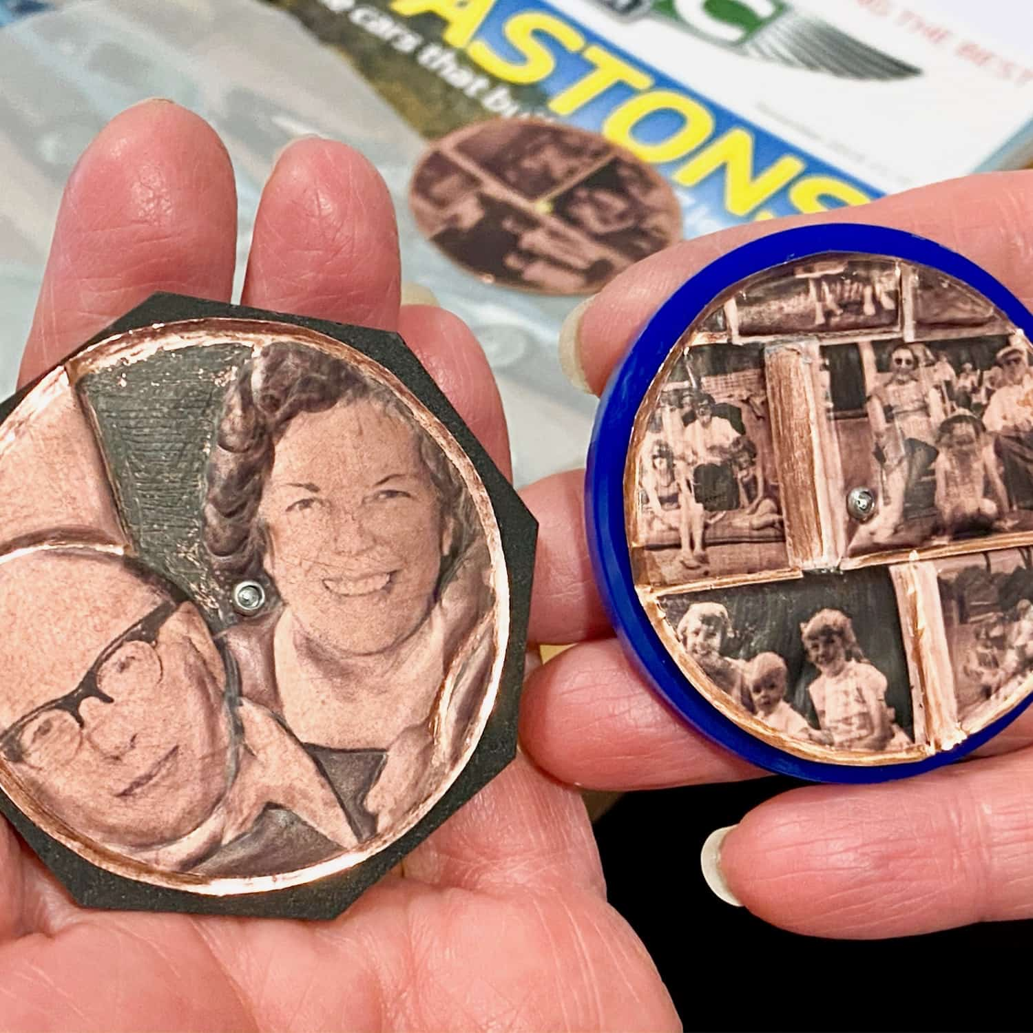 Jayne Clarke and her brooches with family montage