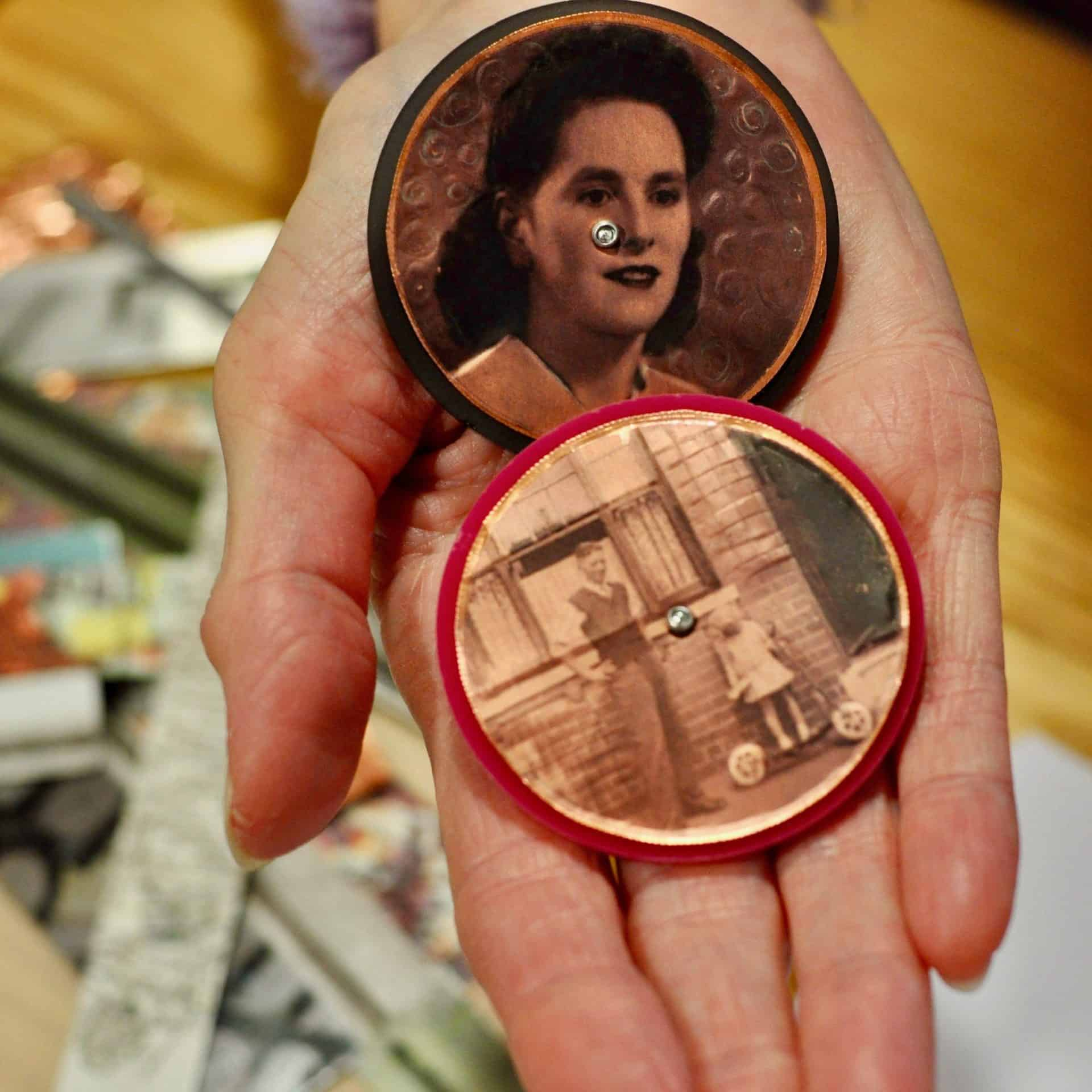 Wendy Viner, with a brooch made from a photo of her mother and herself outside her childhood home.