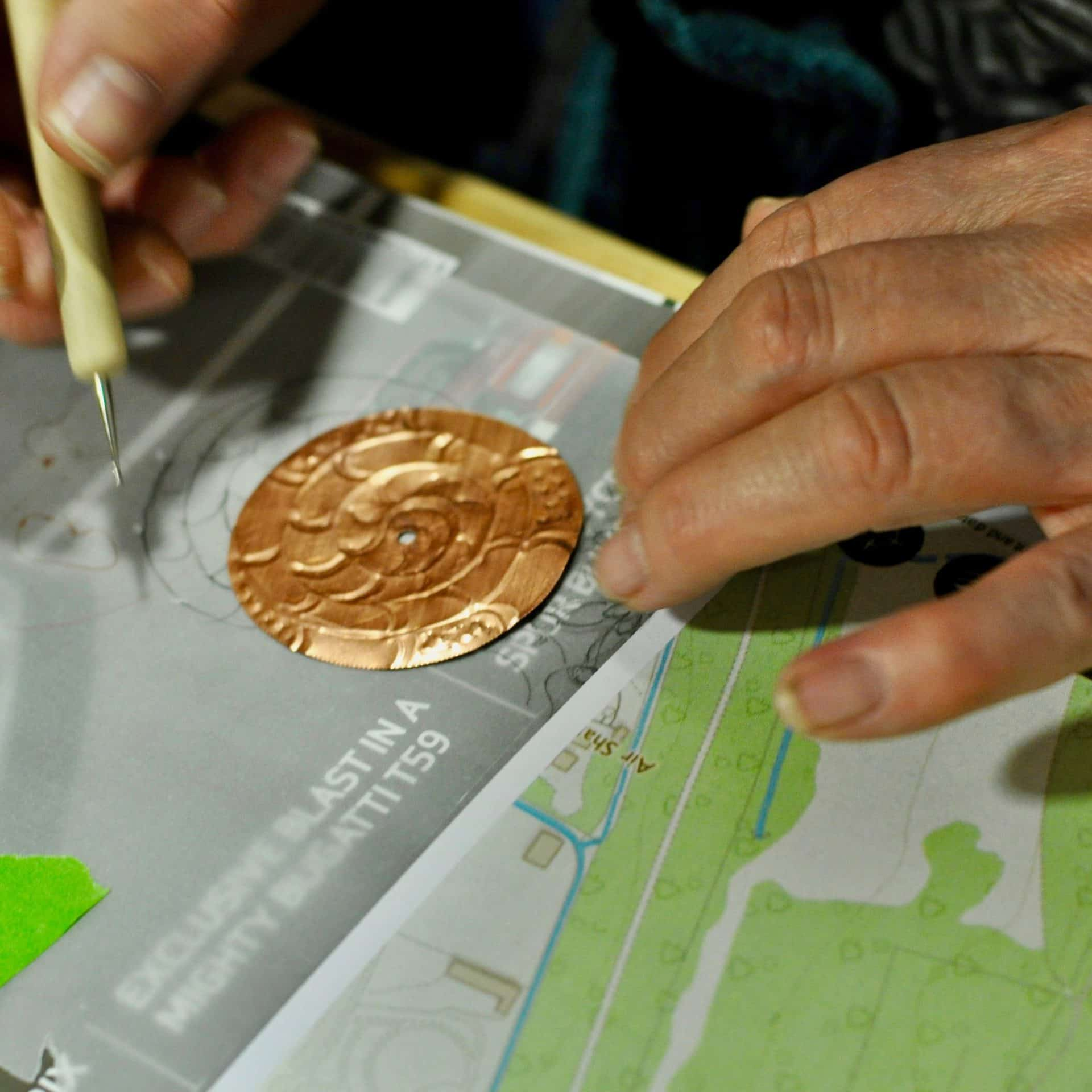 Kim Knowles embossing copper