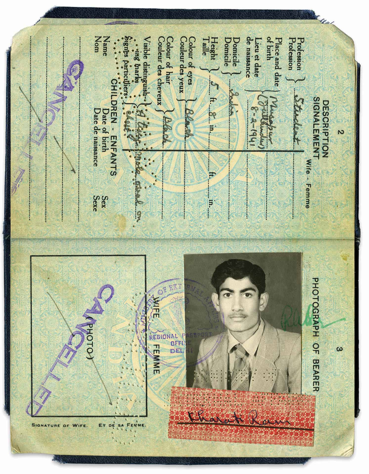 Kharati Verma passport photograph from when he arrived in the UK