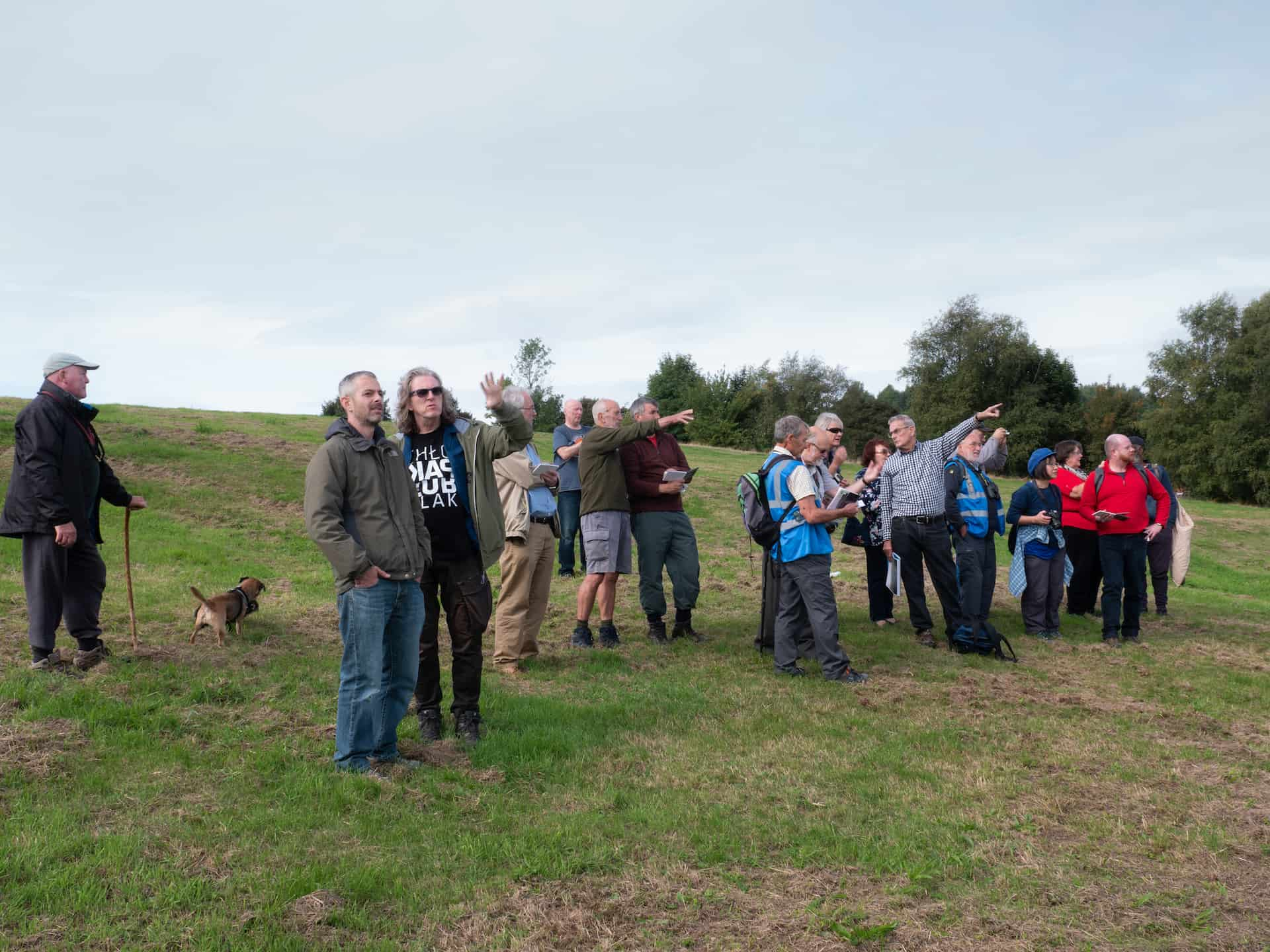 Participants discuss the view from the Rowley Hills