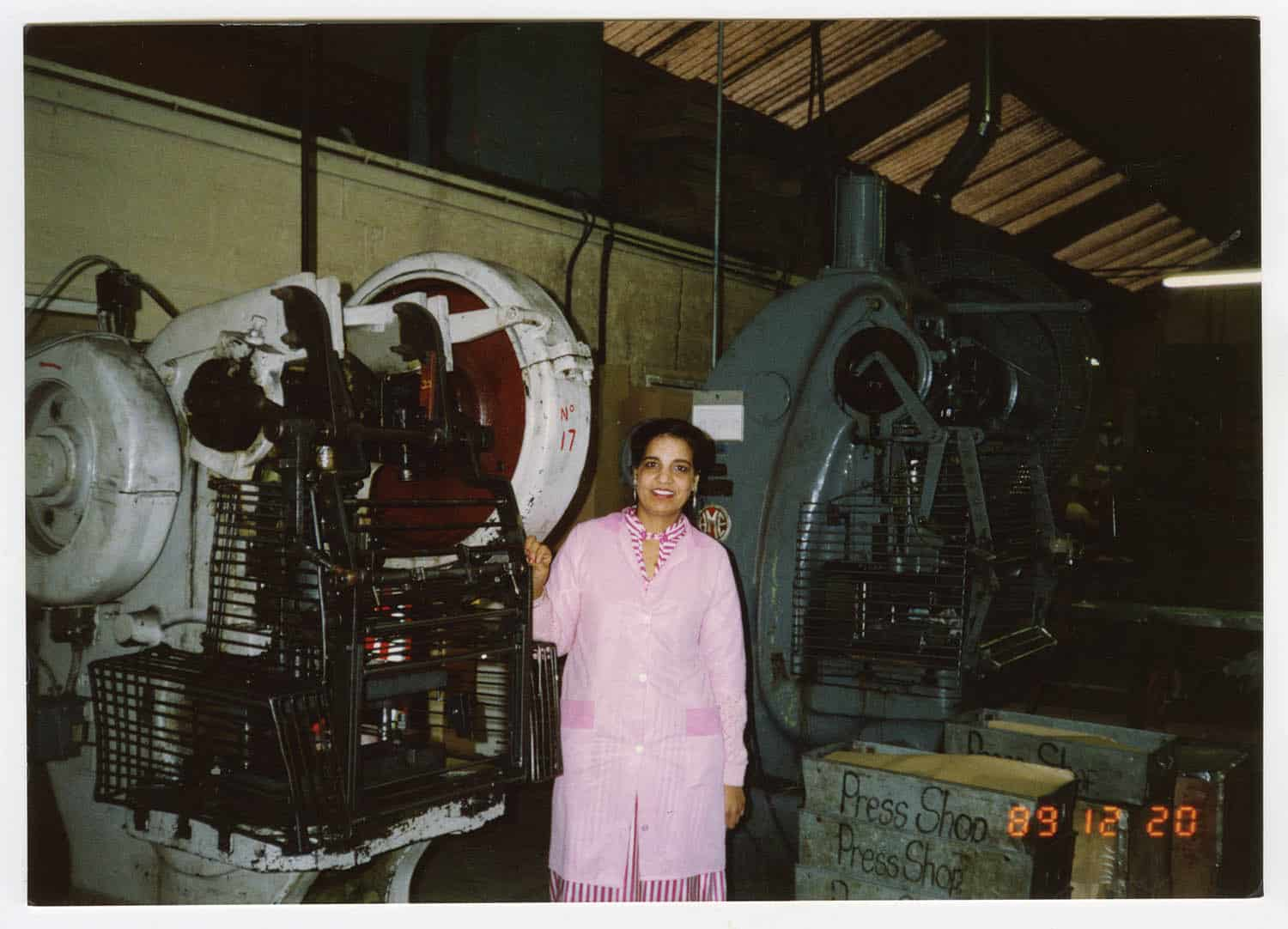 Ravinder Kaur Chana on the press shop work floor at Benjamin Parkes & Son Ltd where she made tool boxes c1989.
