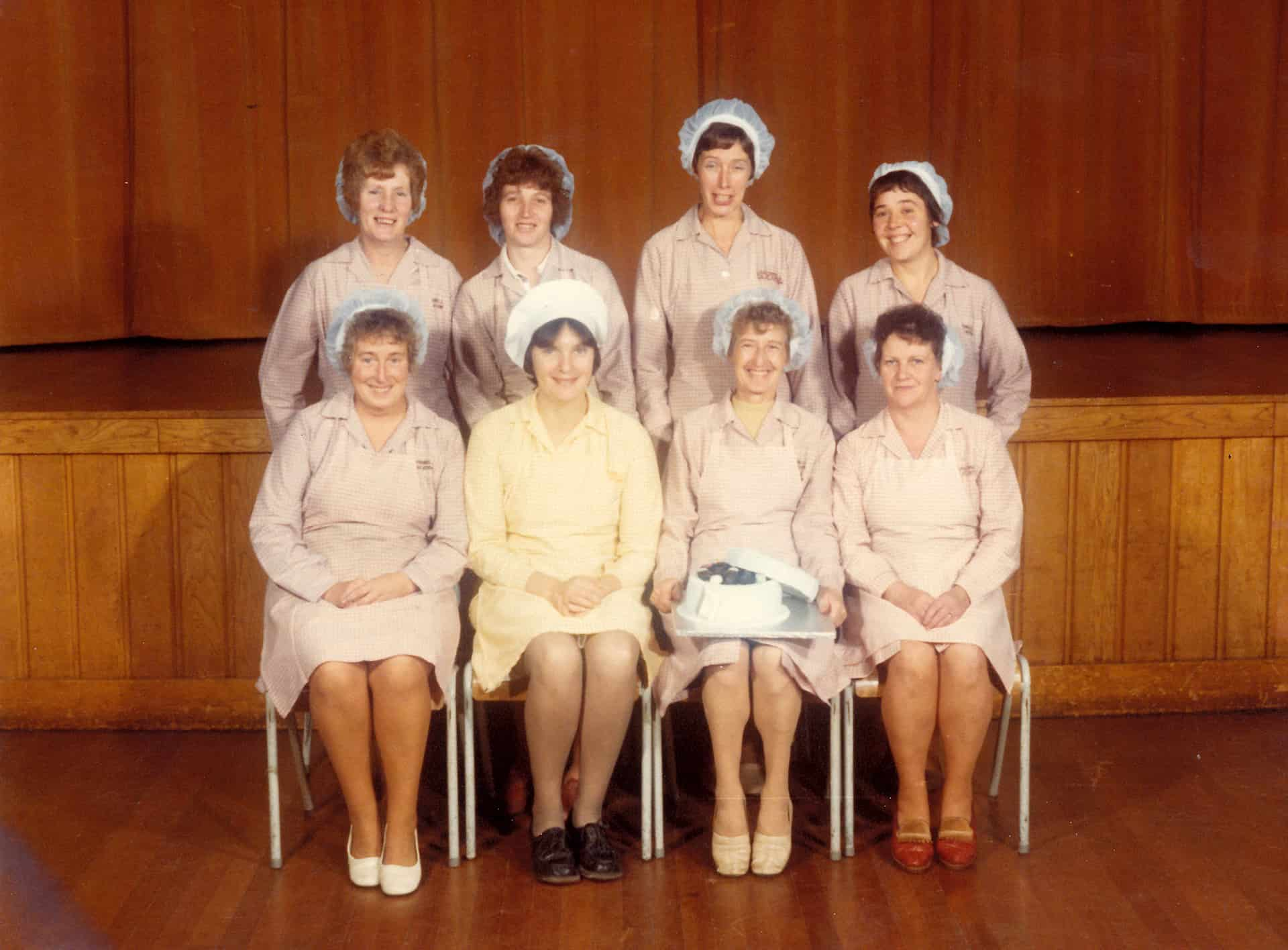 Lillian Hayes (holding the cake) at her retirement from Tividale Comprehensive School, 1979. Shared by Sandra Hughes.