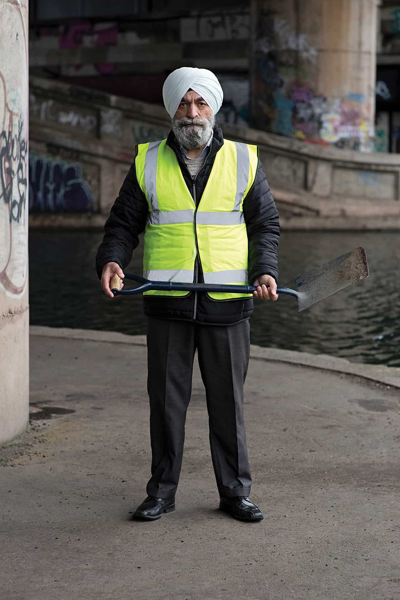 Surinder Singh at the base of the Spaghetti Junction, Birmingham, 2019