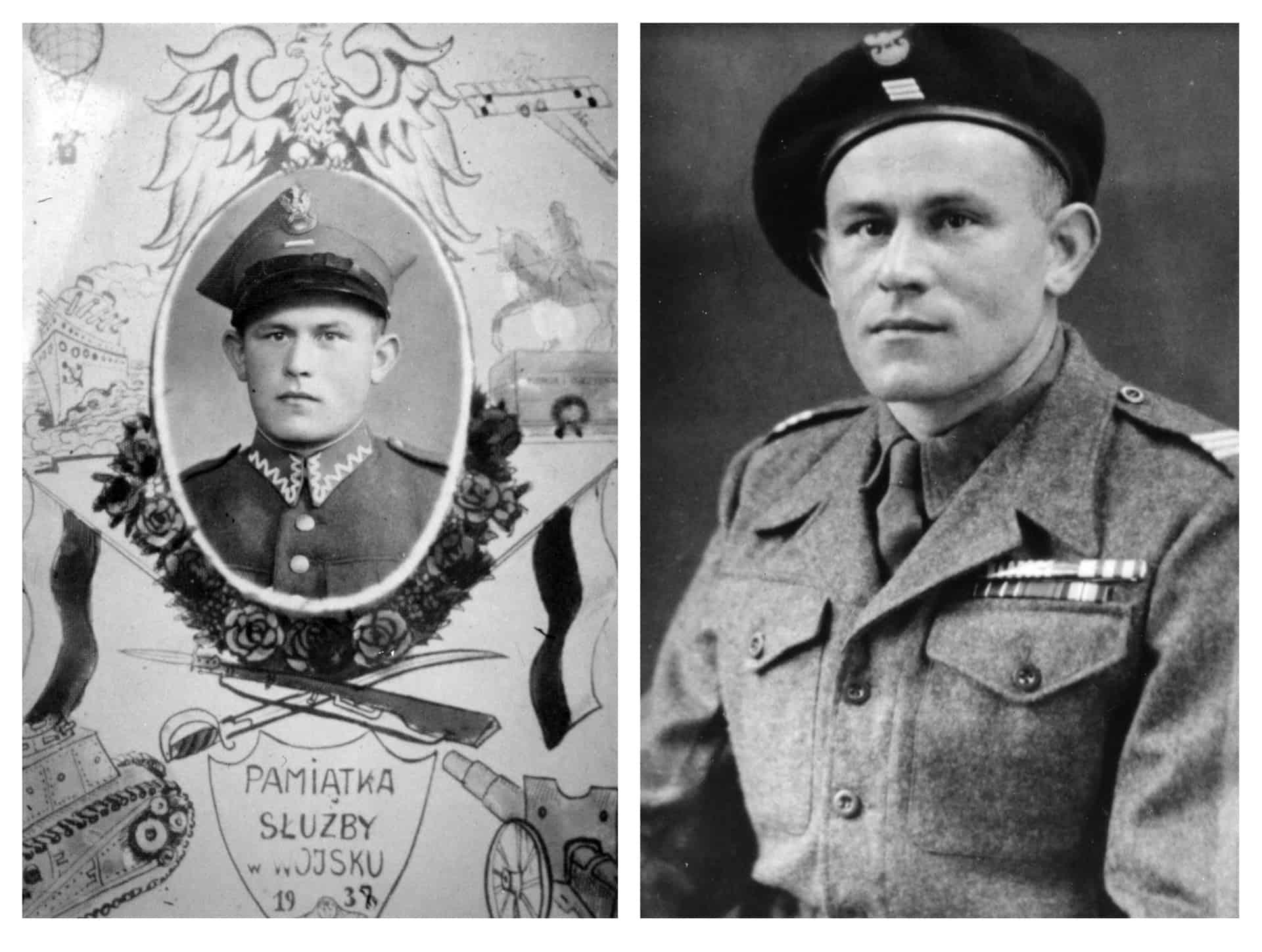 Left: Emil, Polish Army, 1939.  Right: Emil, Polish Second Corps, 1946