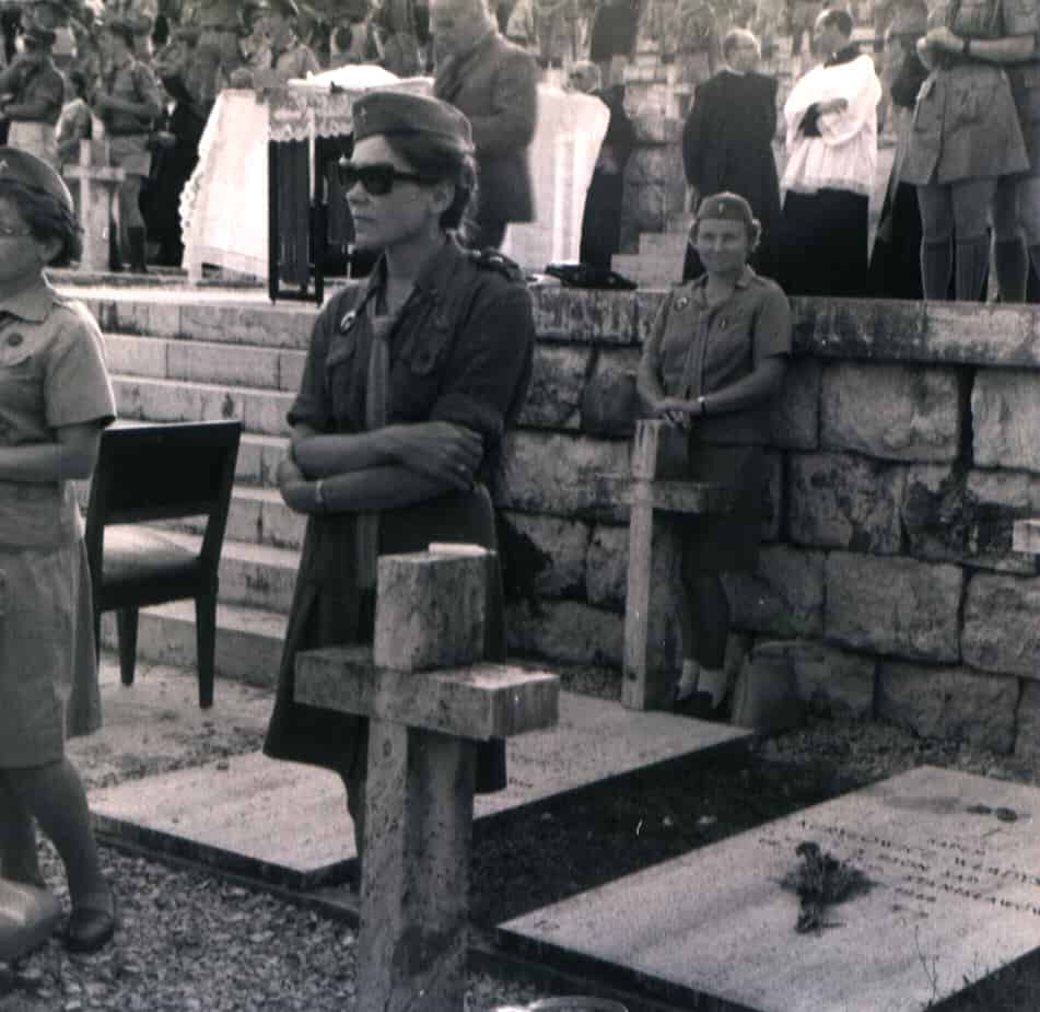 'This is Monte Cassino, 1969. A big gathering of Polish Guides and Scouts on the 25th Anniversary of the big battle there. On each grave stood a guide or scout.'