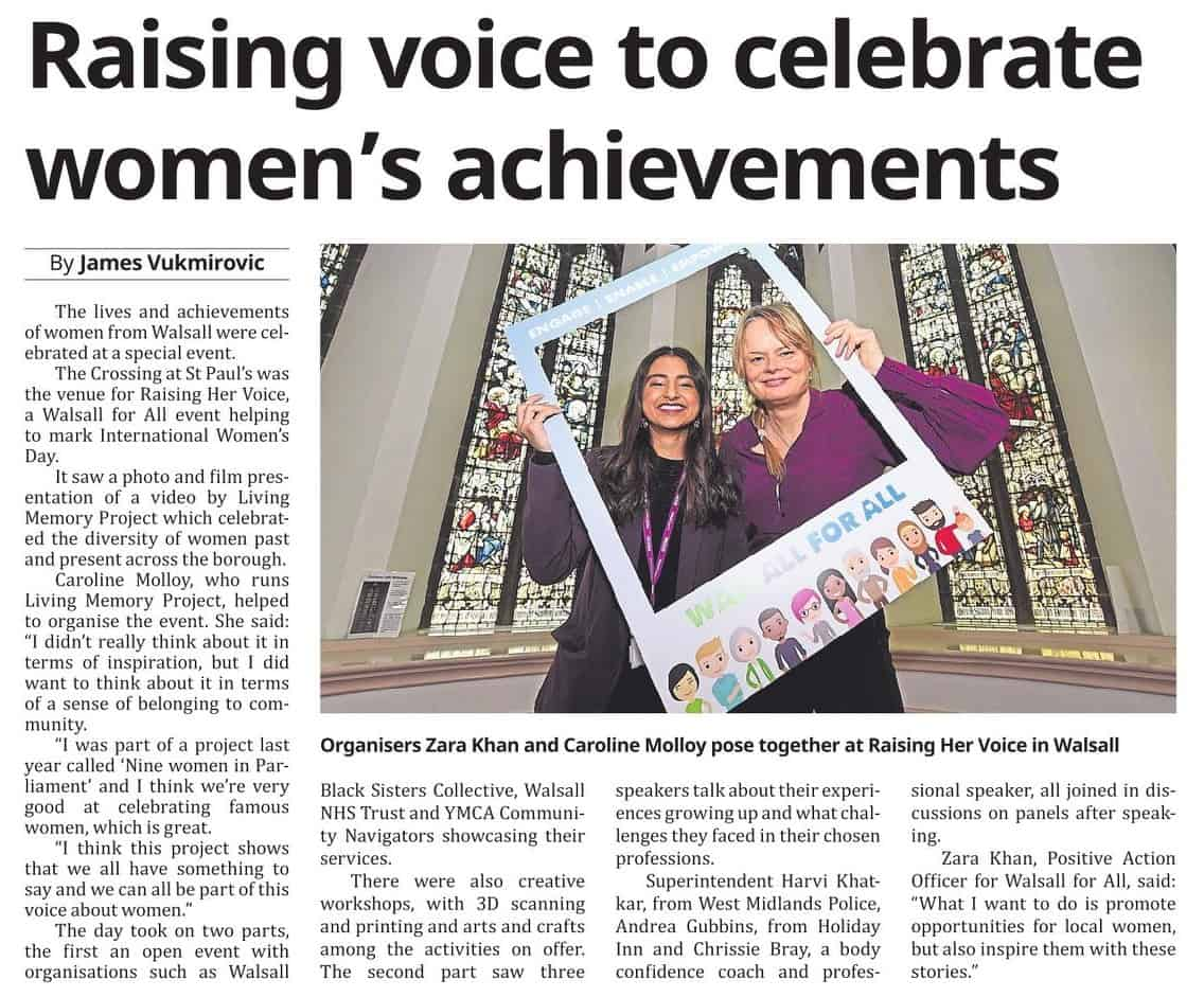 The International Women's Day event Raising Her Voice was featured in Walsall Chronicle (26th March edition). The photo features Positive Action Officer Zara and artist Caroline Molloy.